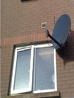 80 cm satellite dish installed for RTE's Saorsat service in Glengormley by  Aerial Installations and Services, Belfast, Northern Ireland